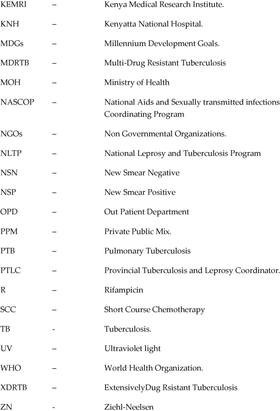 Organizations. NLTP National Leprosy and Tuberculosis Program NSN New Smear Negative NSP New Smear Positive OPD Out Patient Department PPM Private Public Mix.