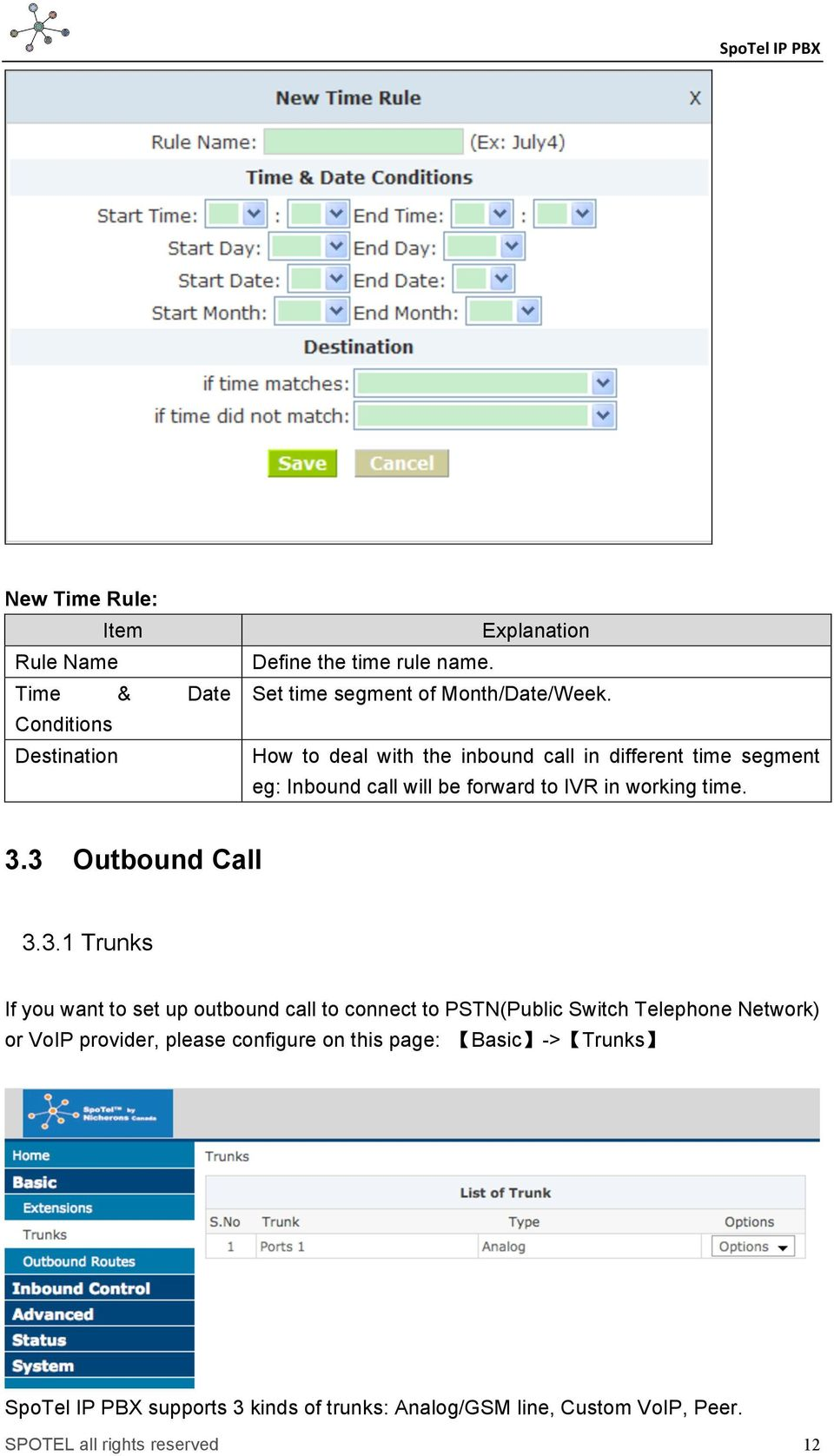 How to deal with the inbound call in different time segment eg: Inbound call will be forward to IVR in working time. 3.3 Outbound Call 3.