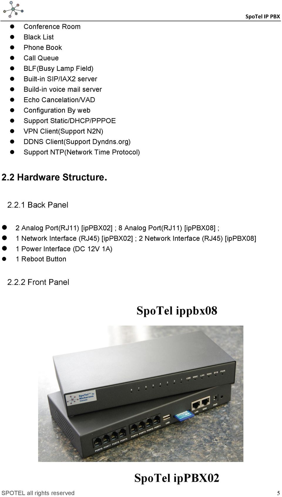 org) Support NTP(Network Time Protocol) SpoTel IP PBX 2.
