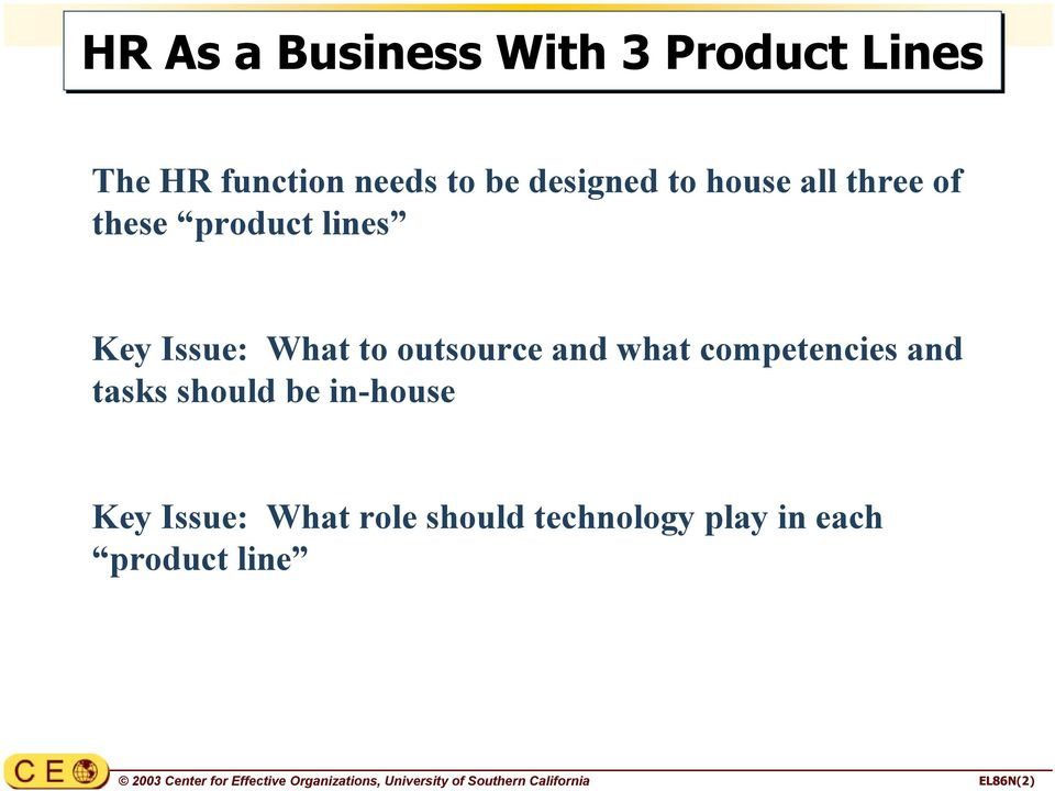 three of these product lines Key Issue: What to outsource and what competencies and