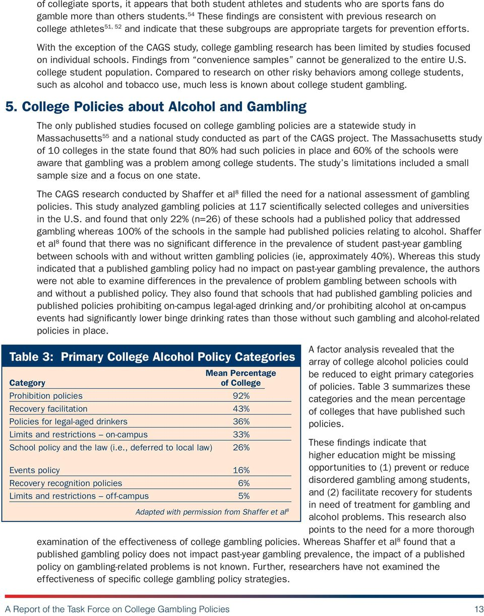 With the exception of the CAGS study, college gambling research has been limited by studies focused on individual schools. Findings from convenience samples cannot be generalized to the entire U.S. college student population.