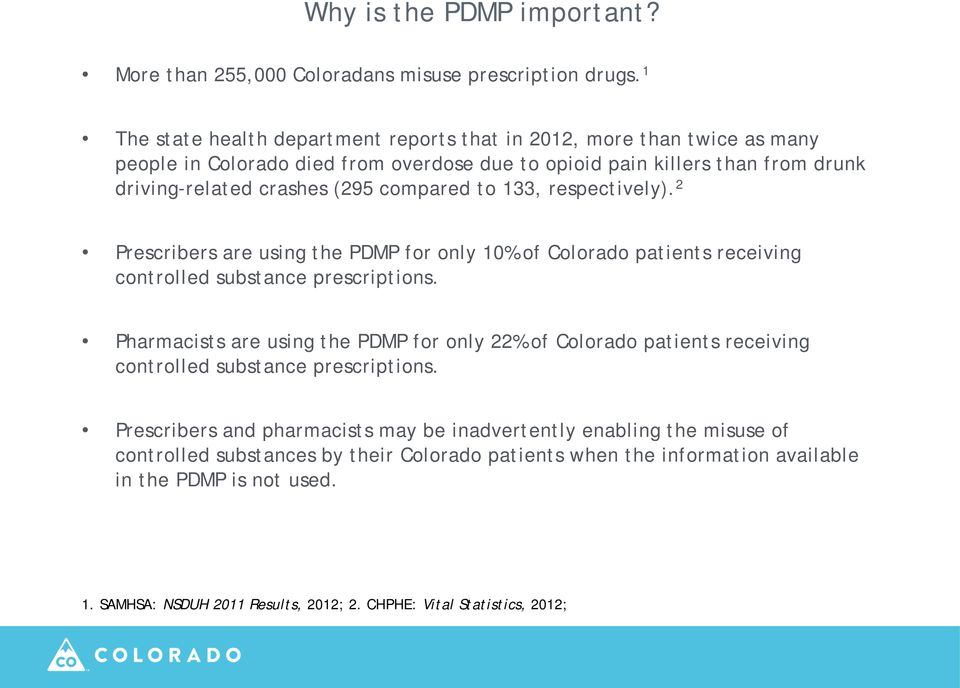 compared to 133, respectively). 2 Prescribers are using the PDMP for only 10% of Colorado patients receiving controlled substance prescriptions.