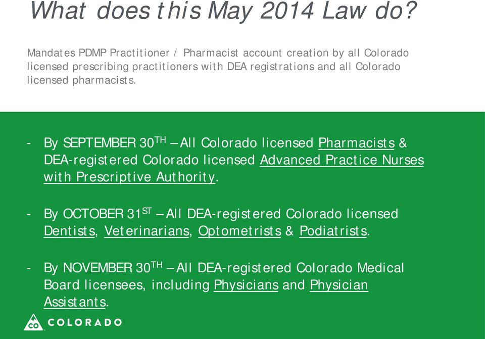 Colorado licensed pharmacists.