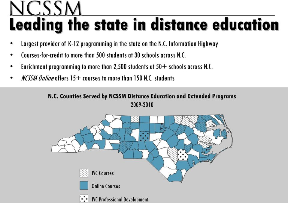 C. NCSSM Online offers 15+ courses to more than 150 N.C. students N.C. Counties Served by NCSSM Distance Education