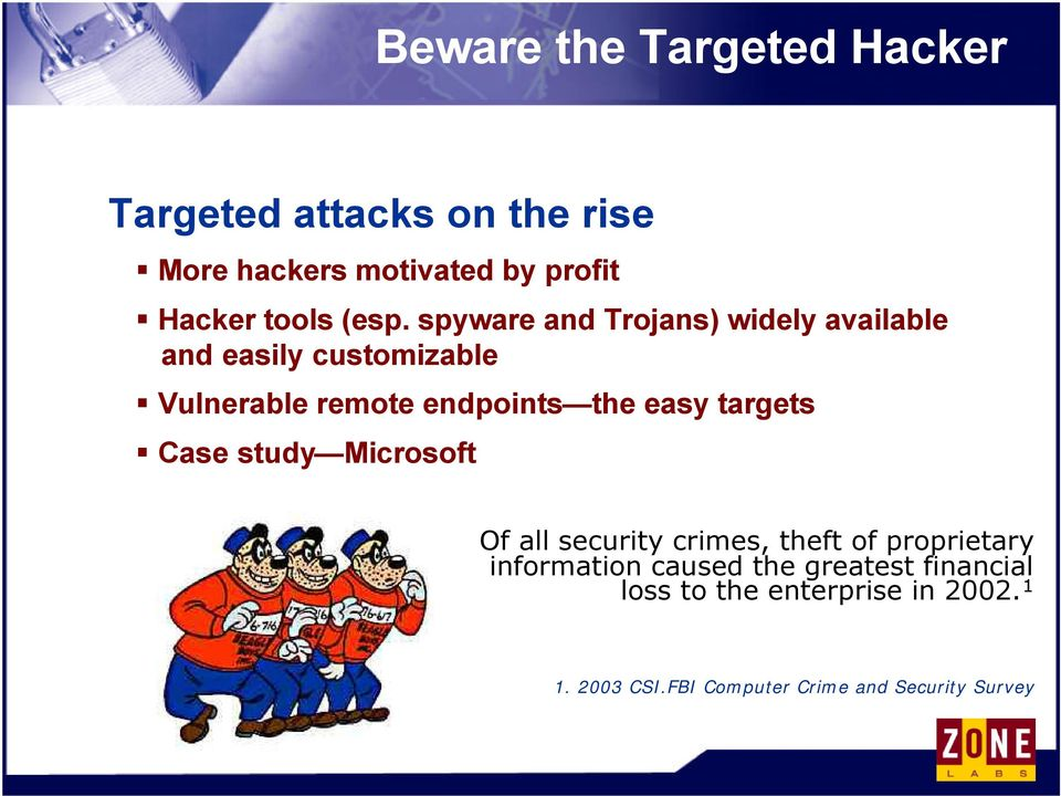 easy targets Case study Microsoft Of all security crimes, theft of proprietary information caused the