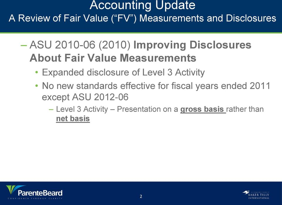 disclosure of Level 3 Activity No new standards effective for fiscal years ended