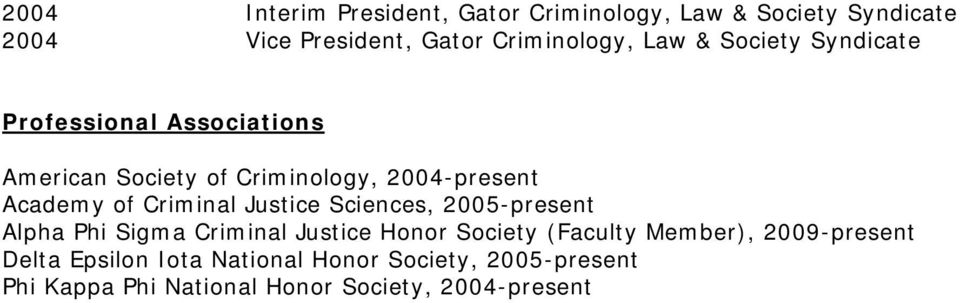 Criminal Justice Sciences, 2005-present Alpha Phi Sigma Criminal Justice Honor Society (Faculty Member),