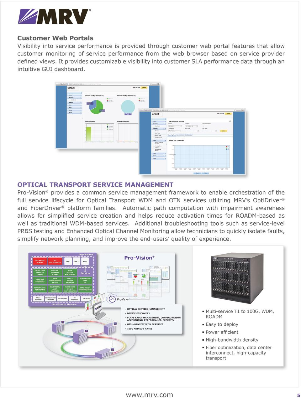 OPTICAL TRANSPORT SERVICE MANAGEMENT Pro-Vision provides a common service management framework to enable orchestration of the full service lifecycle for Optical Transport WDM and OTN services