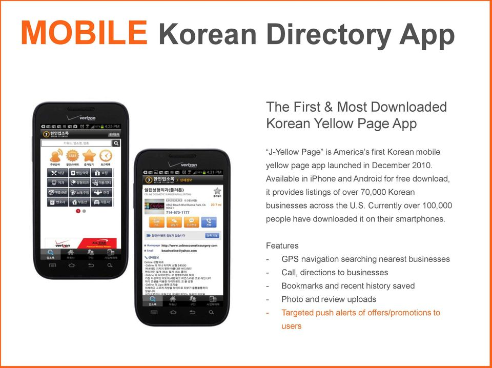 Available in iphone and Android for free download, it provides listings of over 70,000 Korean businesses across the U.S.
