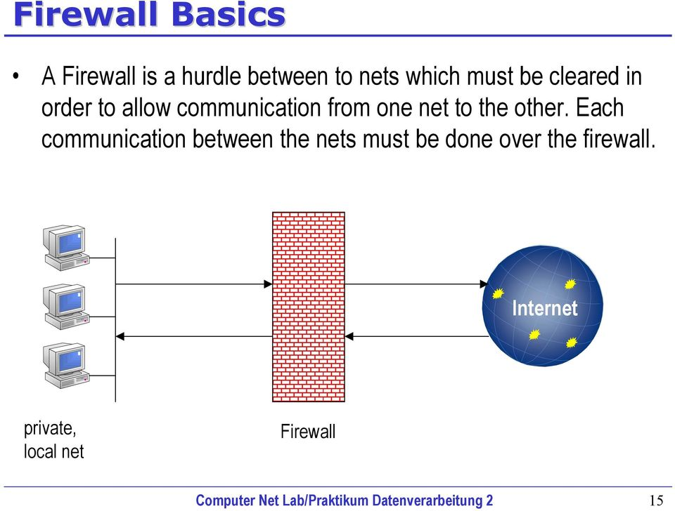 Each communication between the nets must be done over the firewall.