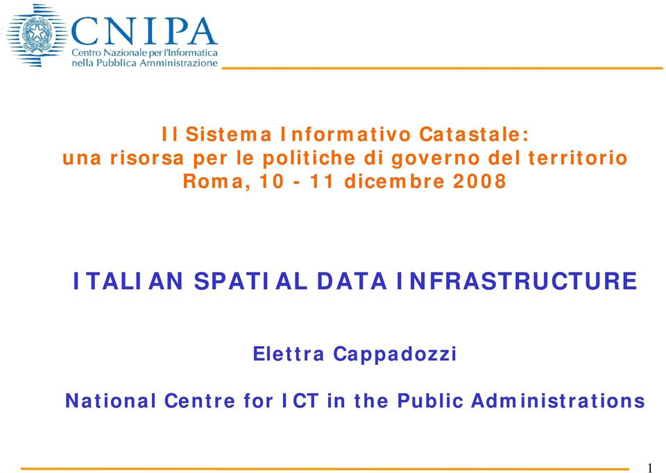 2008 ITALIAN SPATIAL DATA INFRASTRUCTURE Elettra