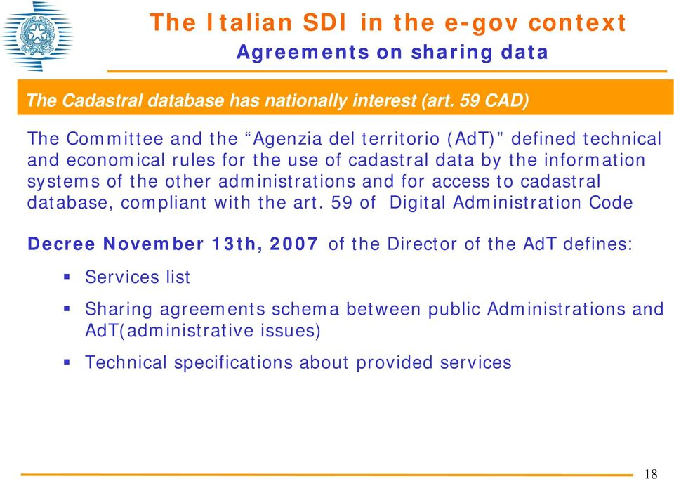 systems of the other administrations and for access to cadastral database, compliant with the art.