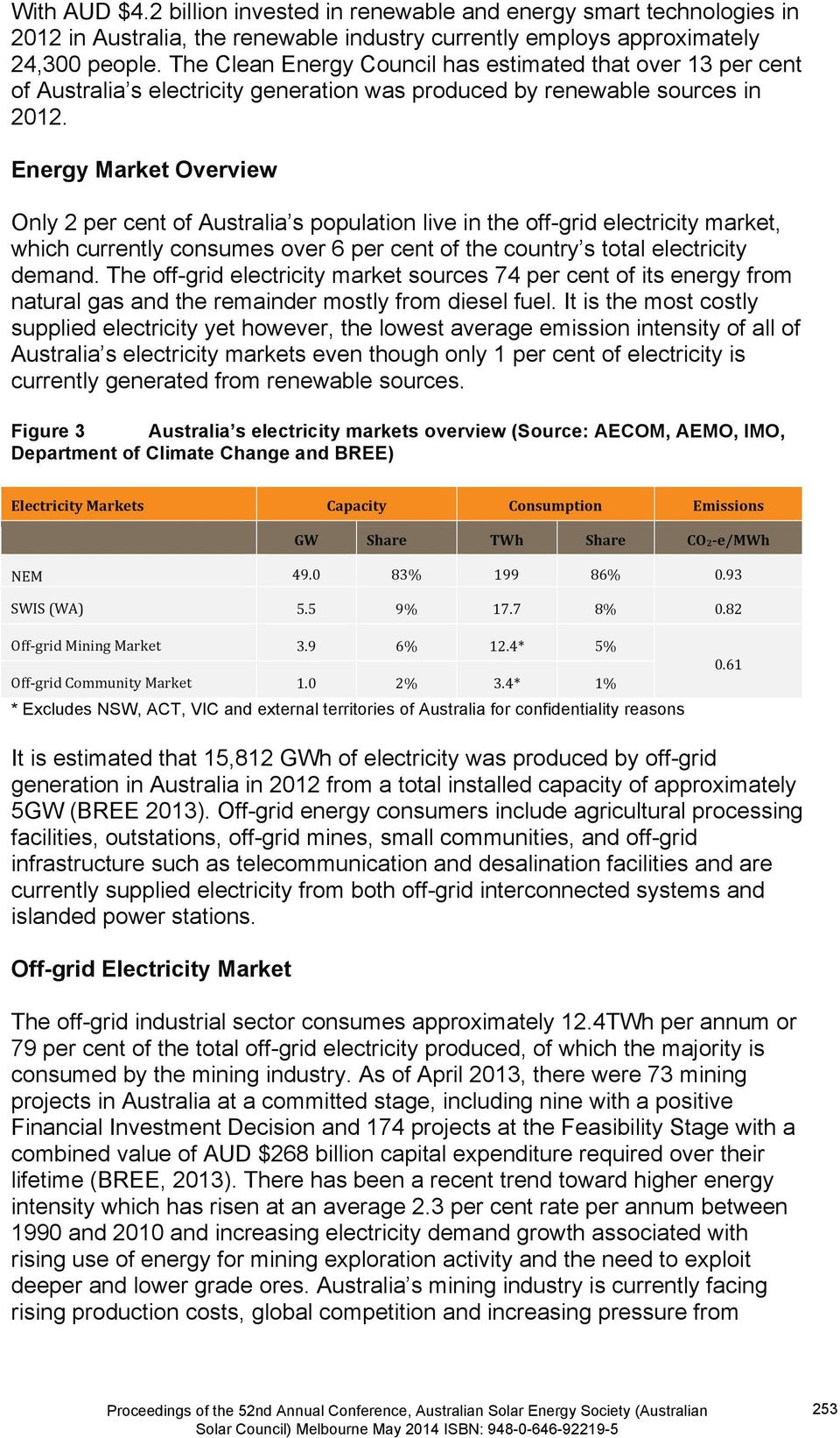Energy Market Overview Only 2 per cent of Australia s population live in the off-grid electricity market, which currently consumes over 6 per cent of the country s total electricity demand.
