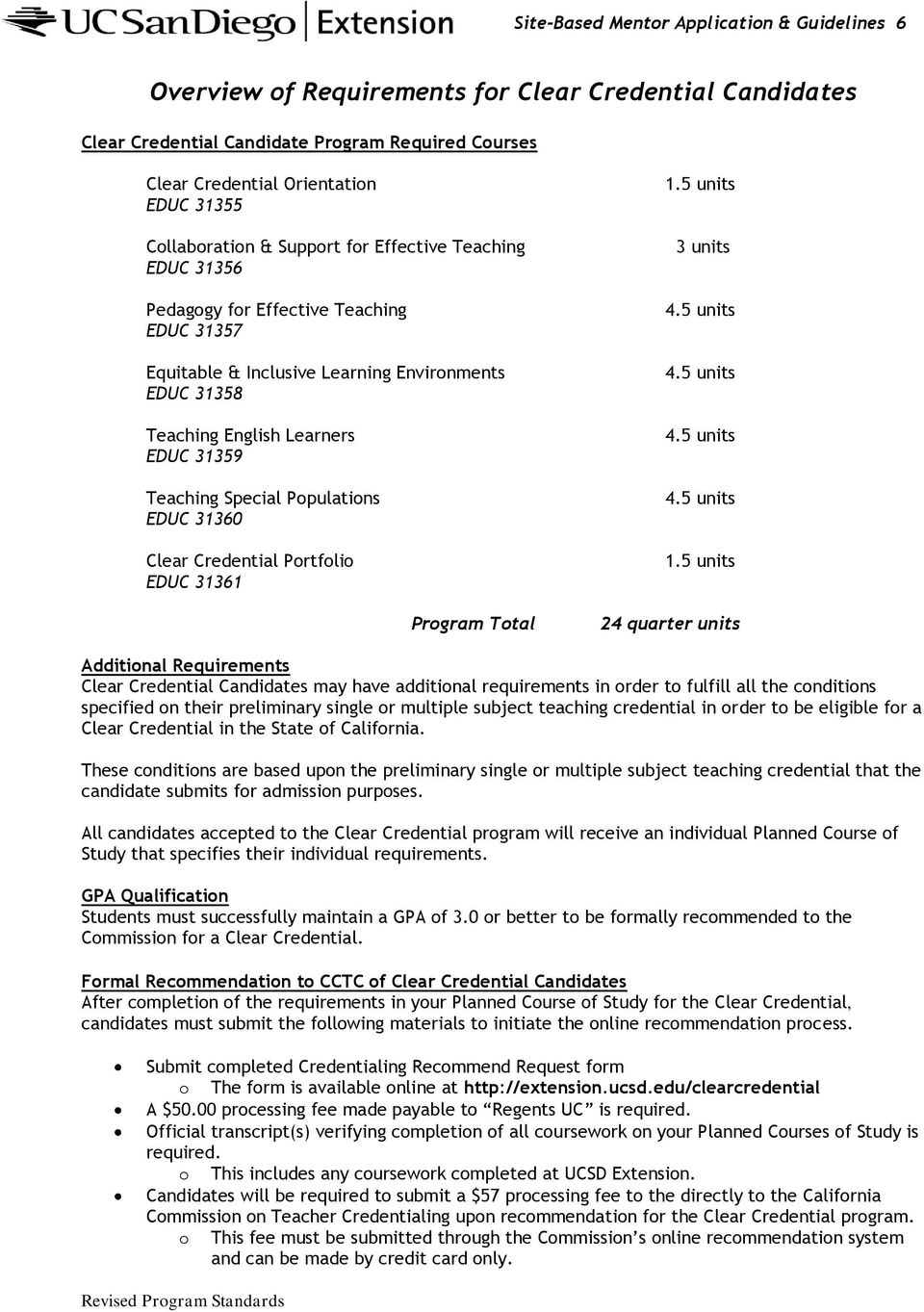 Teaching Special Populations EDUC 31360 Clear Credential Portfolio EDUC 31361 Program Total 1.5 units 3 units 4.5 units 4.5 units 4.5 units 4.5 units 1.