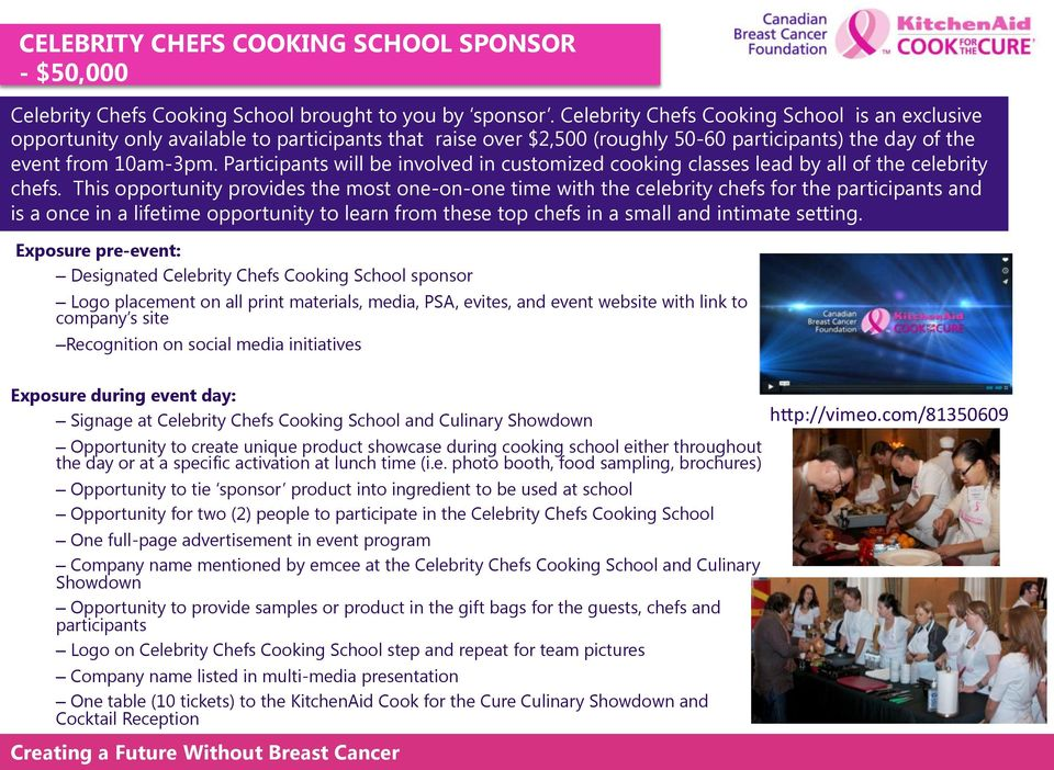 Participants will be involved in customized cooking classes lead by all of the celebrity chefs.