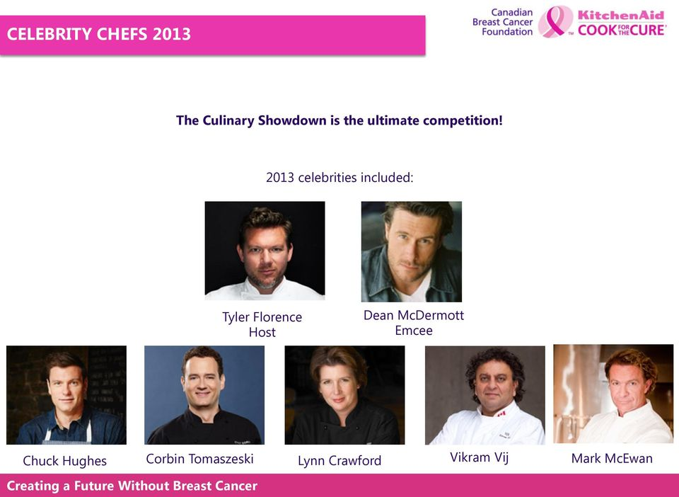 "2013 celebrities included: Tyler Florence"" Host Dean"