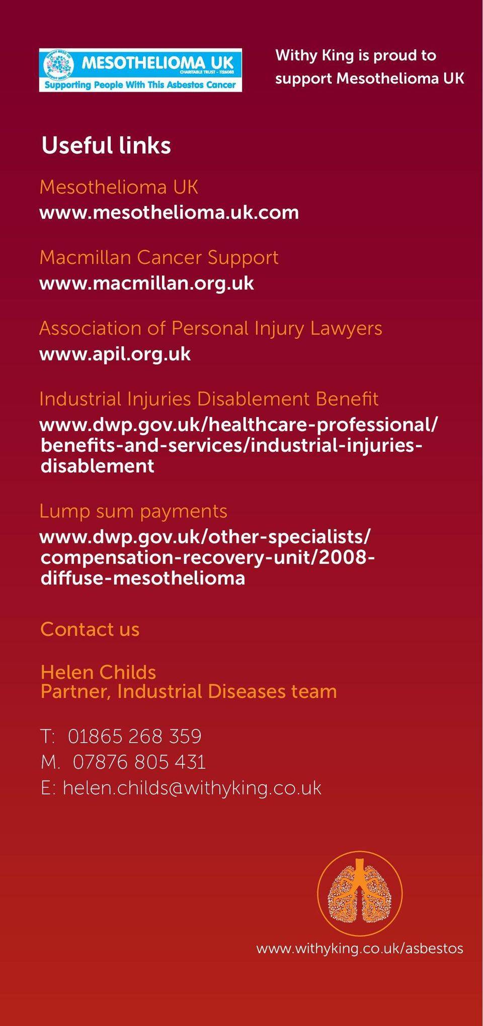uk/healthcare-professional/ benefits-and-services/industrial-injuriesdisablement Lump sum payments www.dwp.gov.