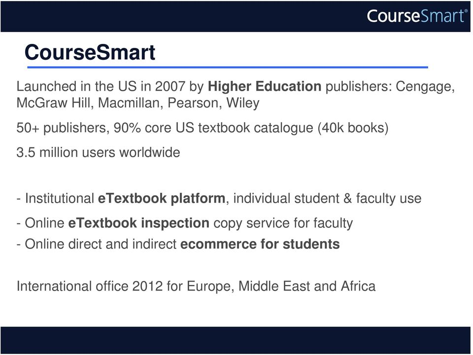 5 million users worldwide - Institutional etextbook platform, individual student & faculty use - Online