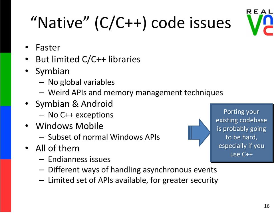 APIs All of them Endianness issues Different ways of handling asynchronous events Limited set of APIs