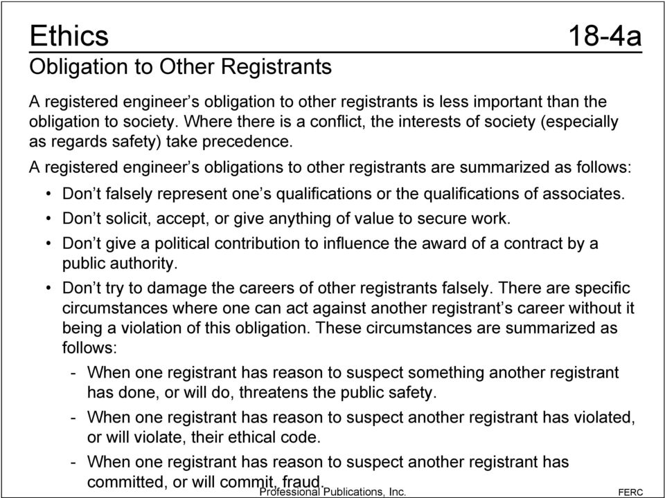 A registered engineer s obligations to other registrants are summarized as follows: Don t falsely represent one s qualifications or the qualifications of associates.