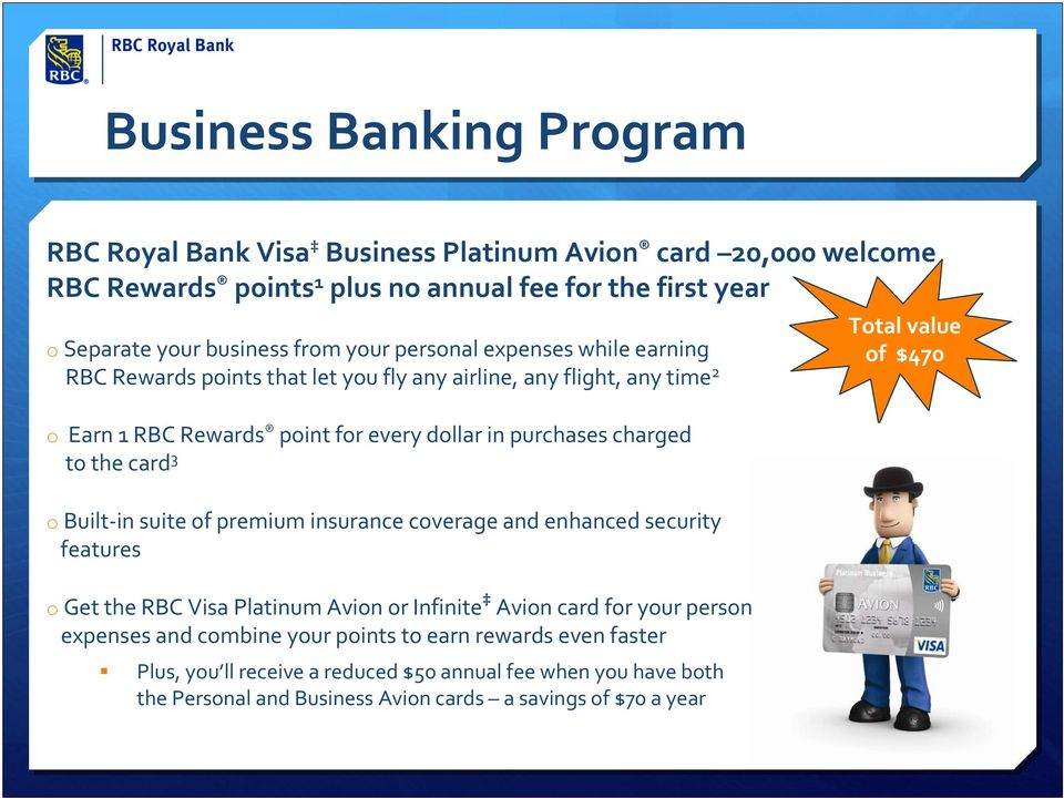 card 3 o Built in suite of premium insurance coverage and enhanced security features o Get the RBC Visa Platinum Avion or Infinite Avion card for your personal expenses and combine