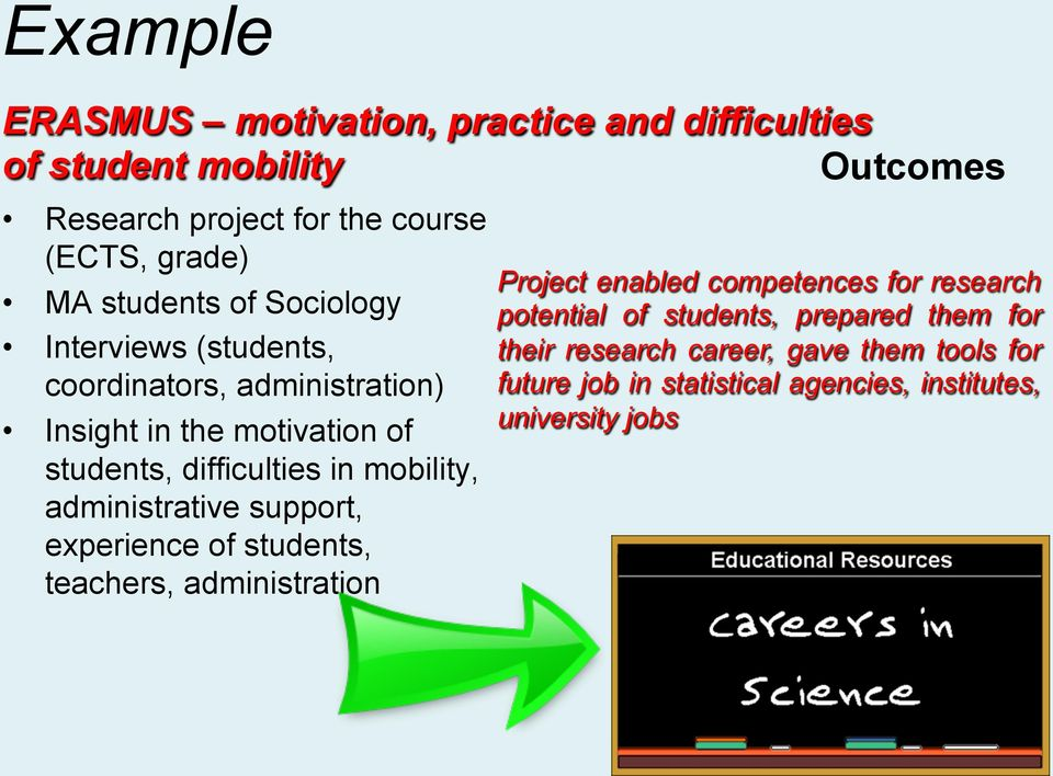 mobility, administrative support, experience of students, teachers, administration Project enabled competences for research