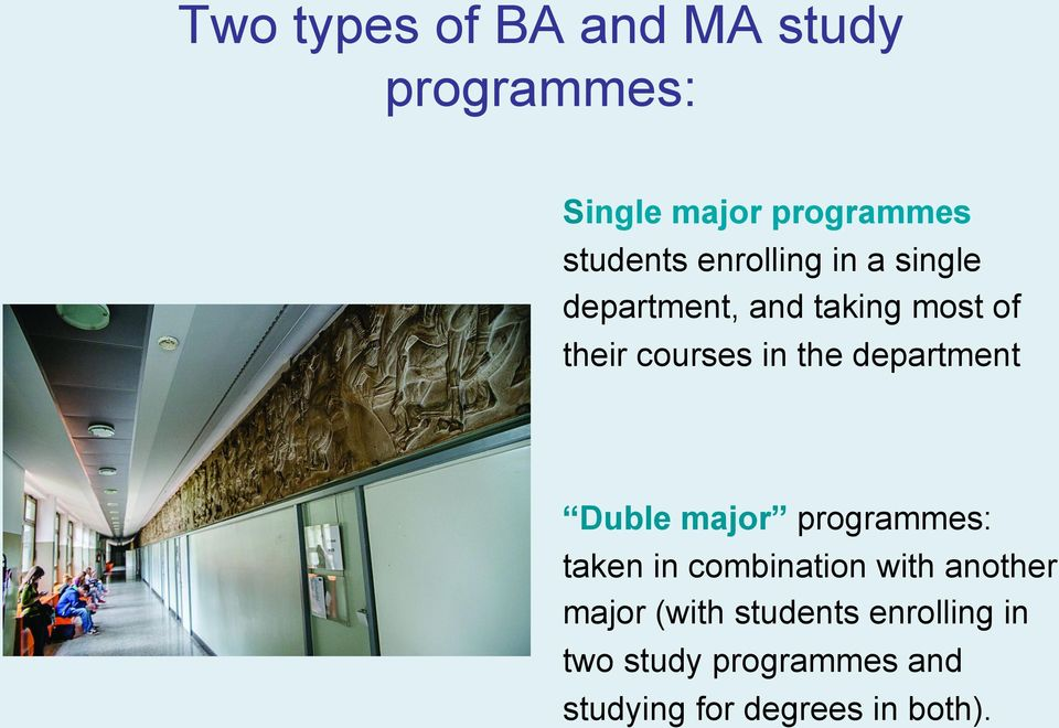 department Duble major programmes: taken in combination with another major