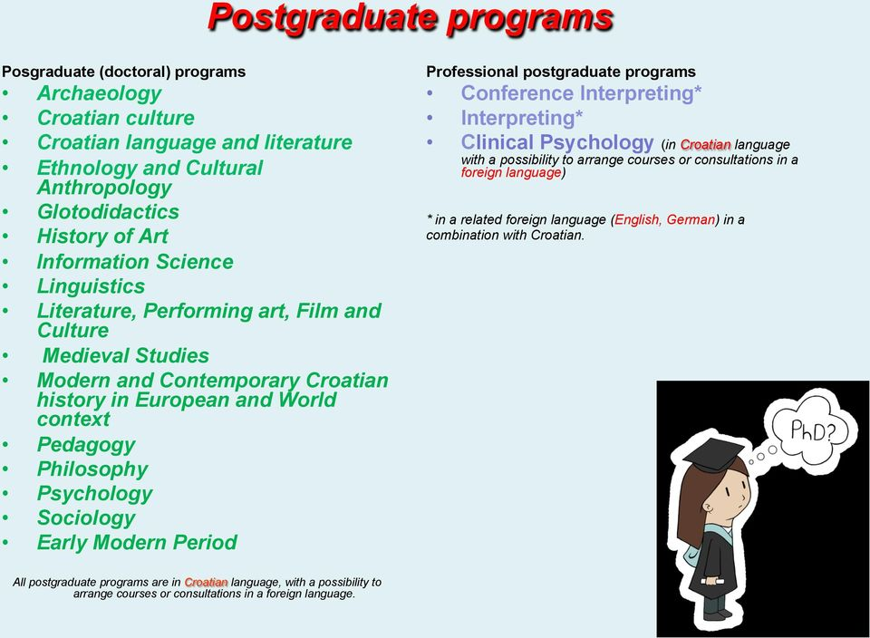 Modern Period Professional postgraduate programs Conference Interpreting* Interpreting* Clinical Psychology (in Croatian language with a possibility to arrange courses or consultations in a foreign