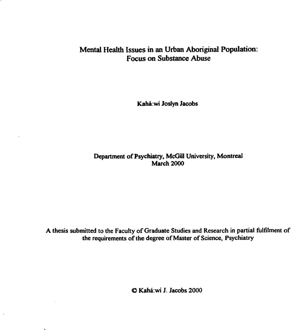 thesis submitted to the Faculty of Graduate Studies and Research in partial