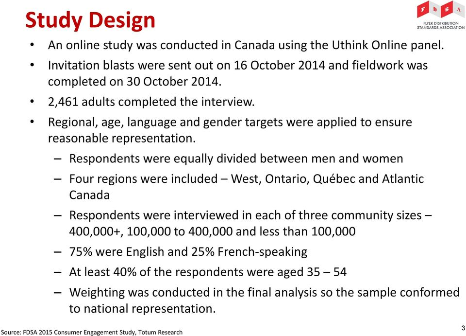 Respondents were equally divided between men and women Four regions were included West, Ontario, Québec and Atlantic Canada Respondents were interviewed in each of three community