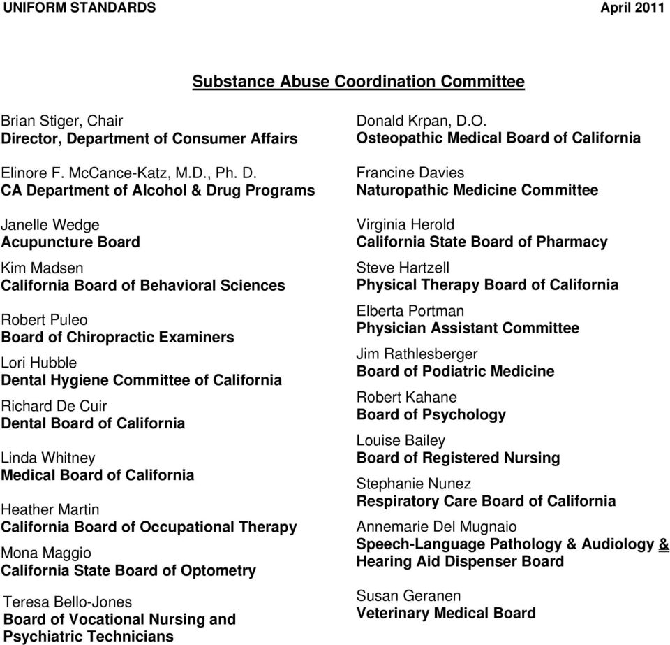 partment of Consumer Affairs Elinore F. McCance-Katz, M.D., Ph. D.