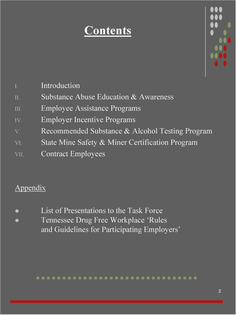 Recommended Substance & Alcohol Testing Program VI. VII.