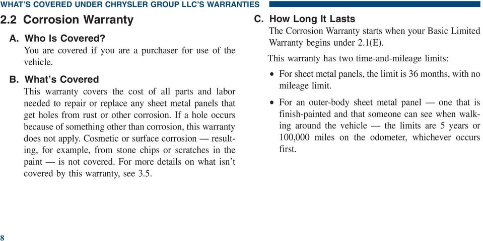 If a hole occurs because of something other than corrosion, this warranty does not apply.