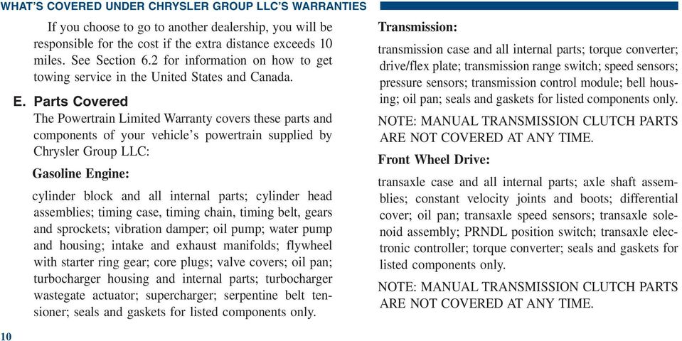 Parts Covered The Powertrain Limited Warranty covers these parts and components of your vehicle s powertrain supplied by Chrysler Group LLC: Gasoline Engine: cylinder block and all internal parts;