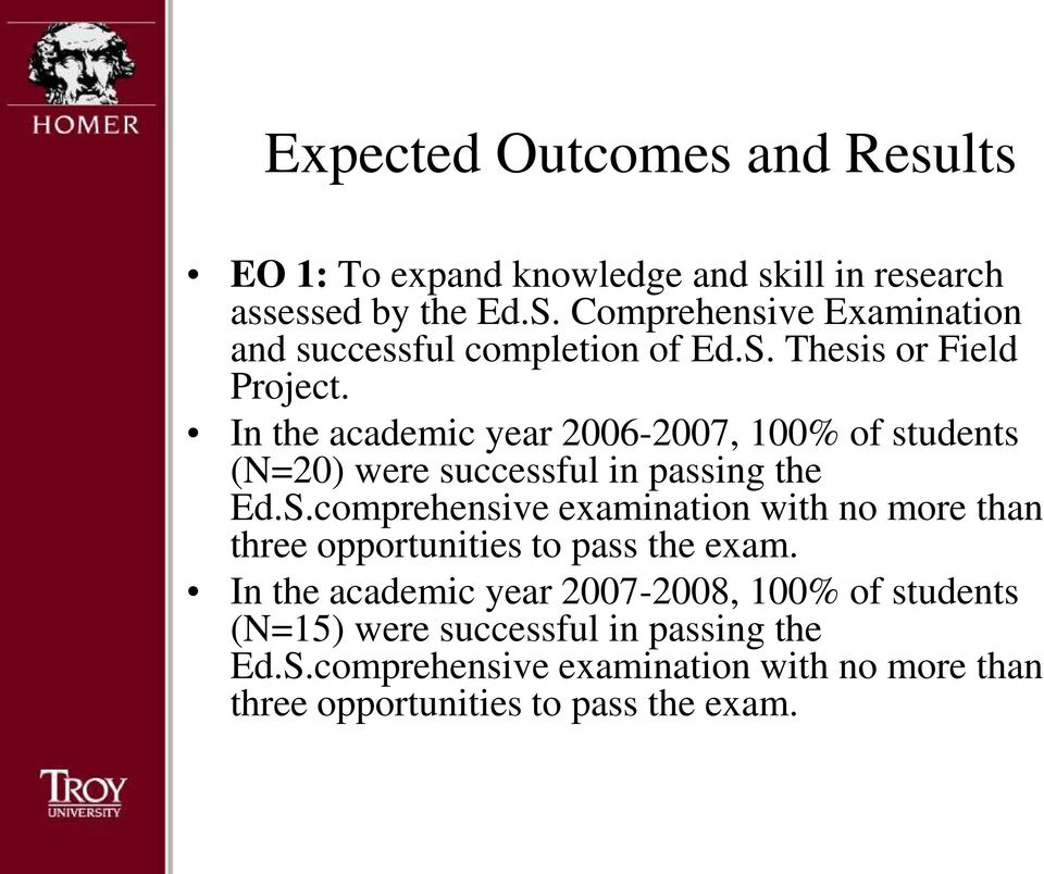 In the academic year 2006-2007, 100% of students (N=20) were successful in passing the Ed.S.