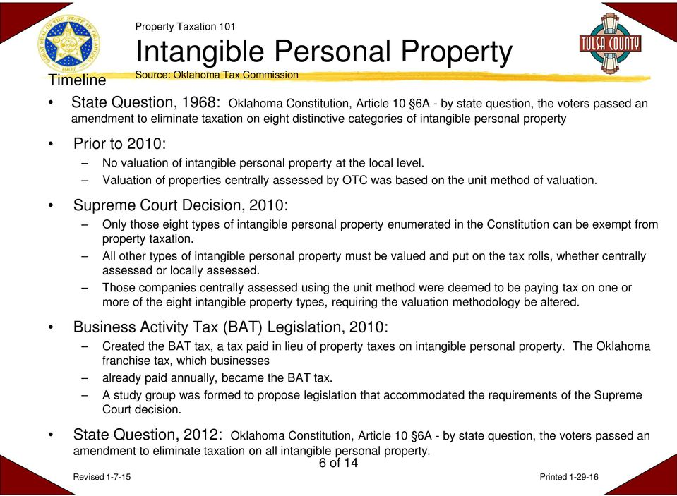 Valuation of properties centrally assessed by OTC was based on the unit method of valuation.