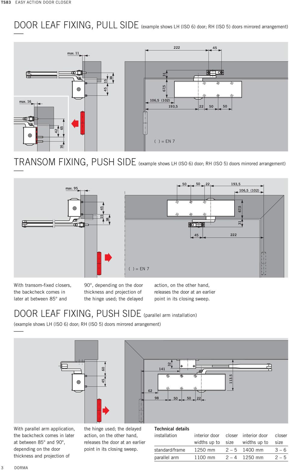 95 50 50 193,5 106,5 (10) 38 15 31 67,5 With transom-fixed closers, the backcheck comes in later at between 85 and 90, depending on the door thickness and projection of the hinge used; the delayed