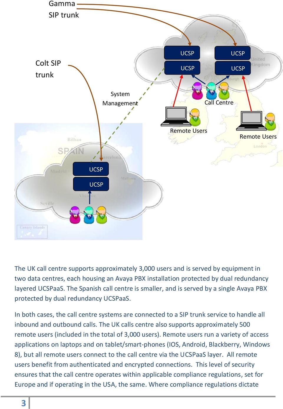 In both cases, the call centre systems are connected to a SIP trunk service to handle all inbound and outbound calls.
