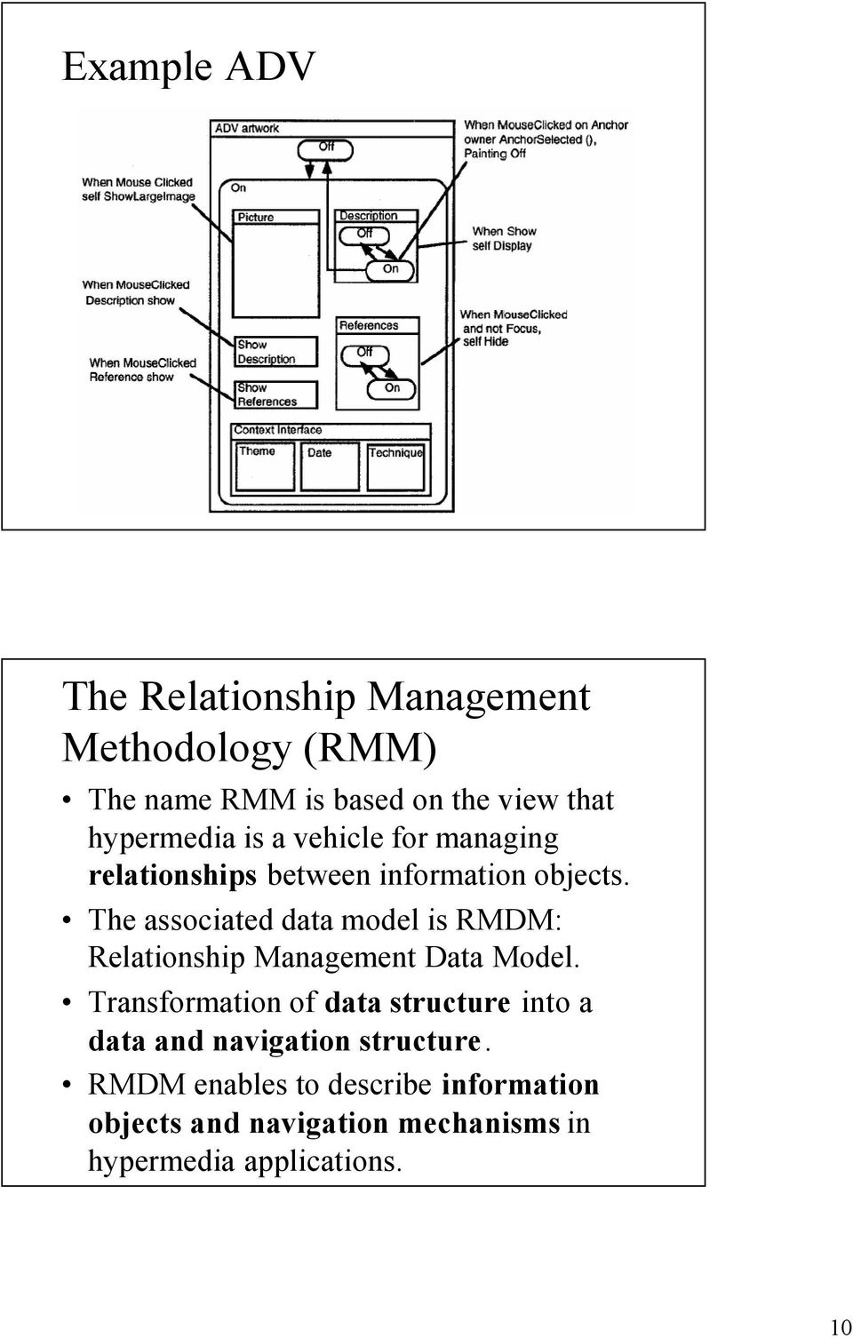 The associated data model is RMDM: Relationship Management Data Model.