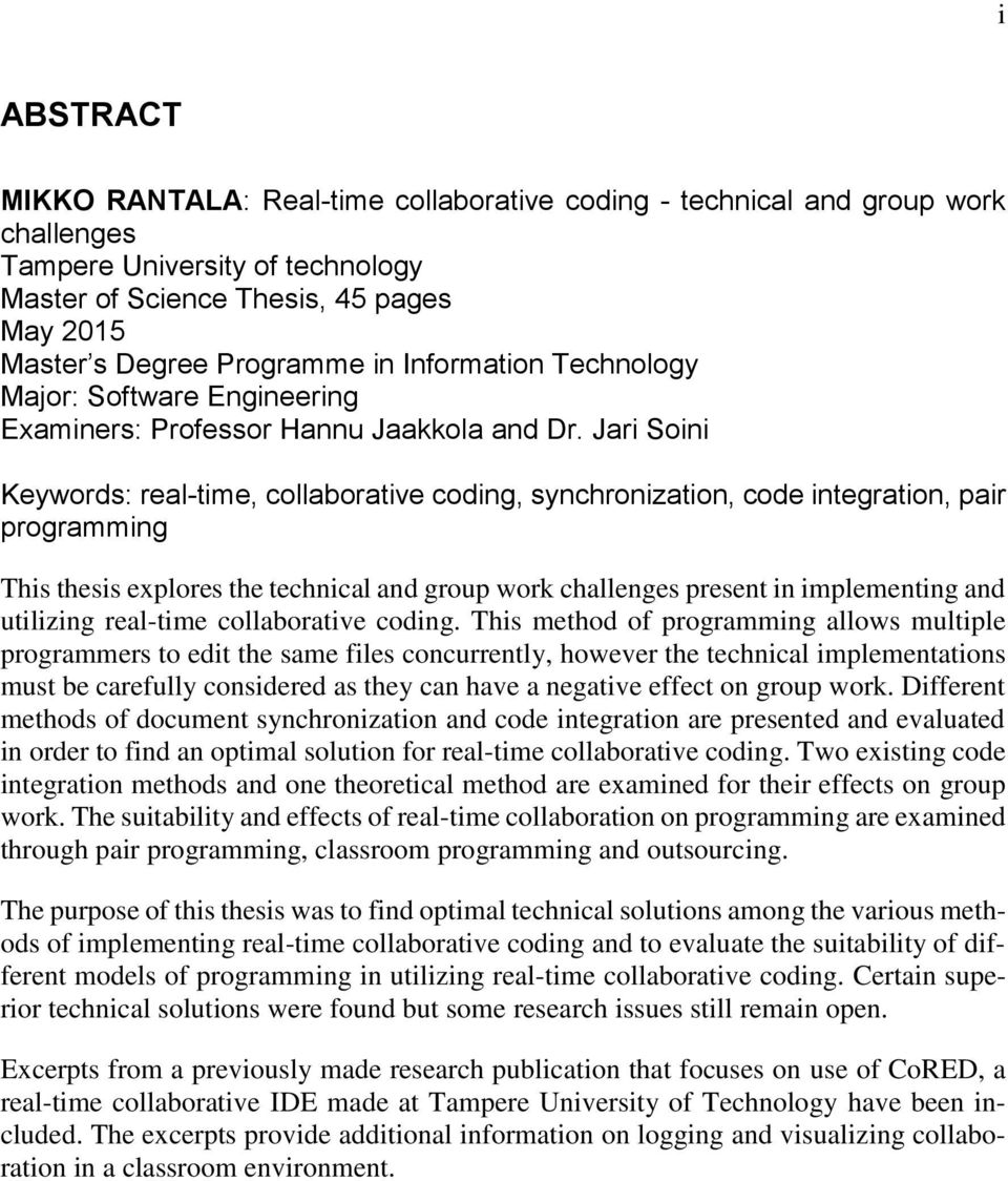 MIKKO RANTALA REAL-TIME COLLABORATIVE CODING - TECHNICAL AND