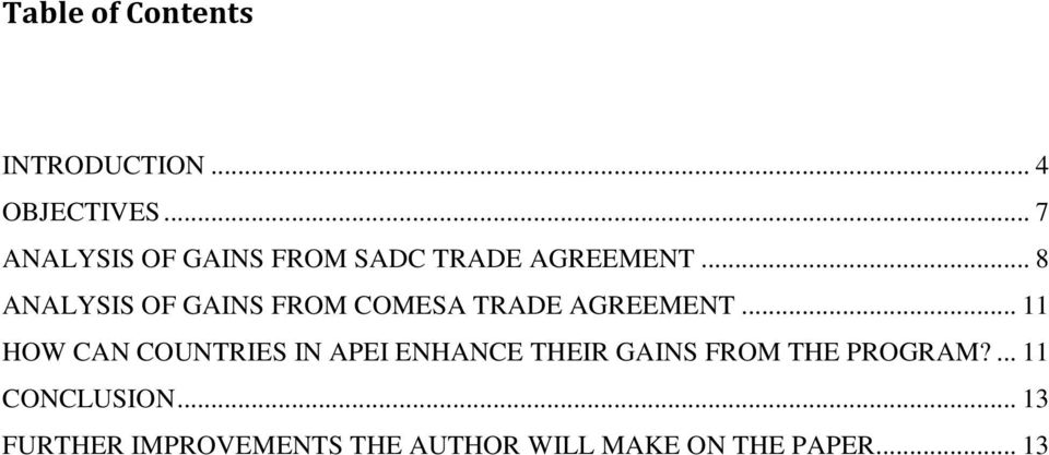 .. 8 ANALYSIS OF GAINS FROM COMESA TRADE AGREEMENT.