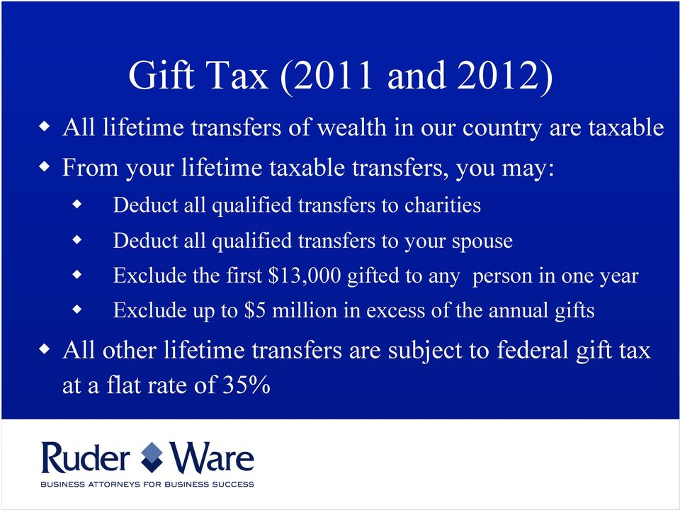 to your spouse Exclude the first $13,000 gifted to any person in one year Exclude up to $5 million in