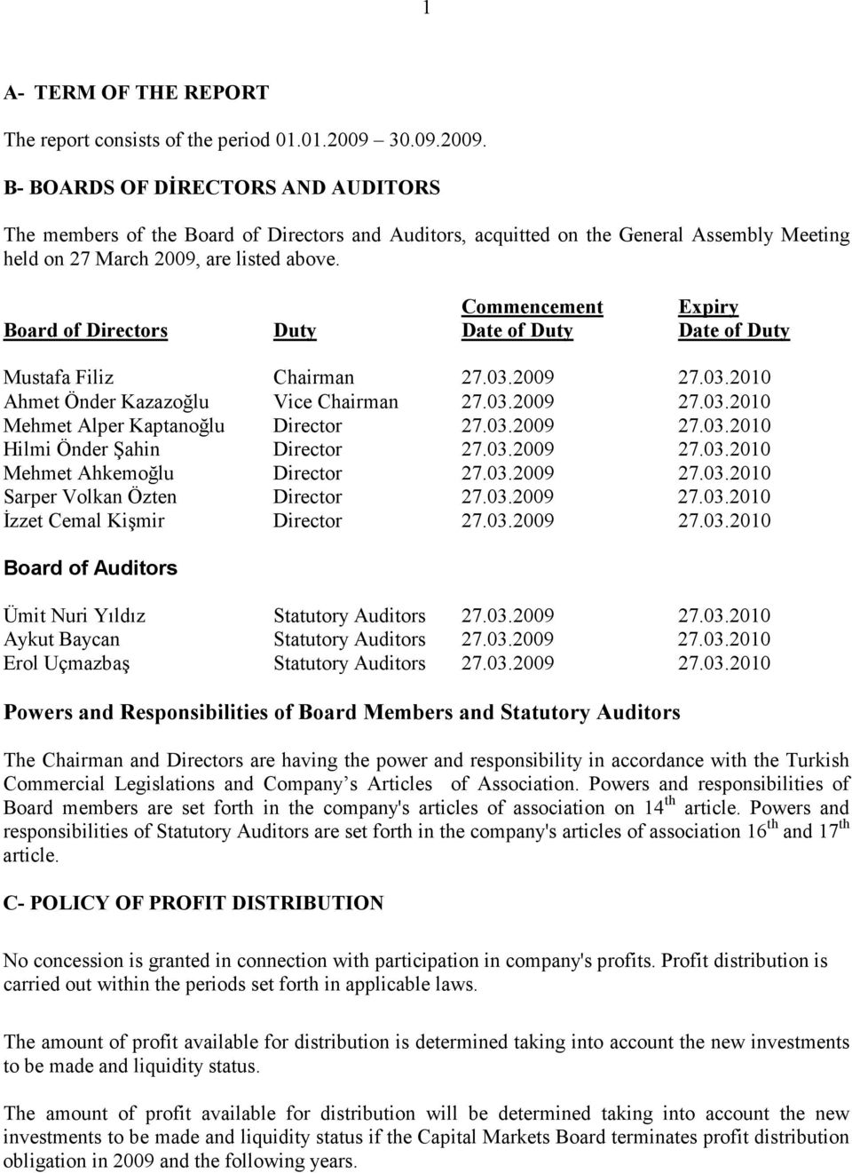 Board of Directors Duty Commencement Date of Duty Expiry Date of Duty Mustafa Filiz Chairman 27.03.2009 27.03.2010 Ahmet Önder Kazazoğlu Vice Chairman 27.03.2009 27.03.2010 Mehmet Alper Kaptanoğlu Director 27.