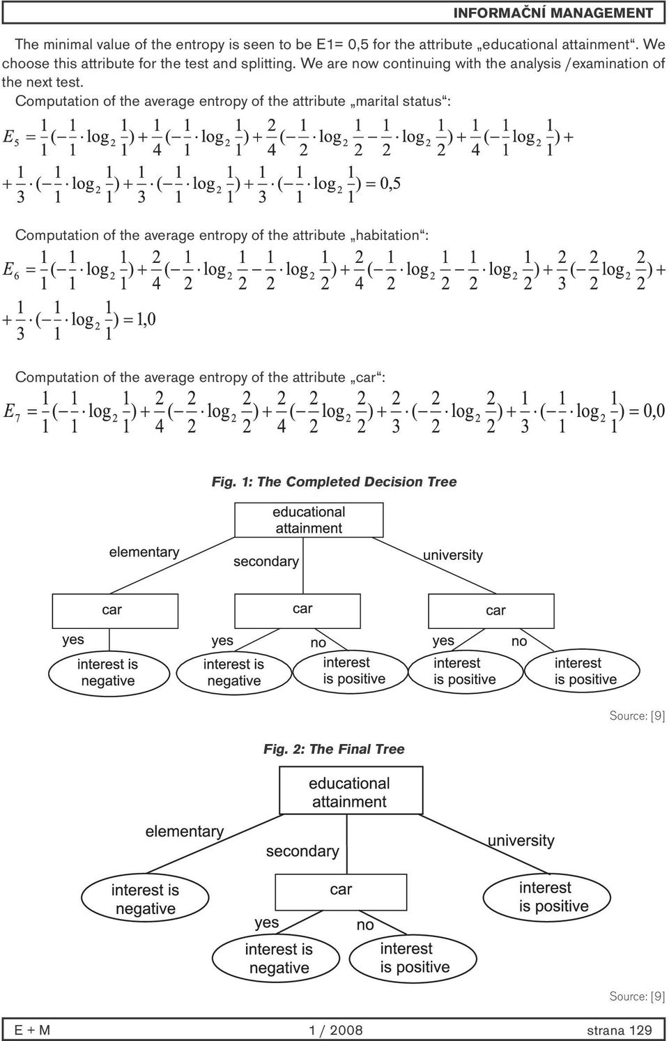 Computation of the average entropy of the attribute marital status : Computation of the average entropy of the attribute
