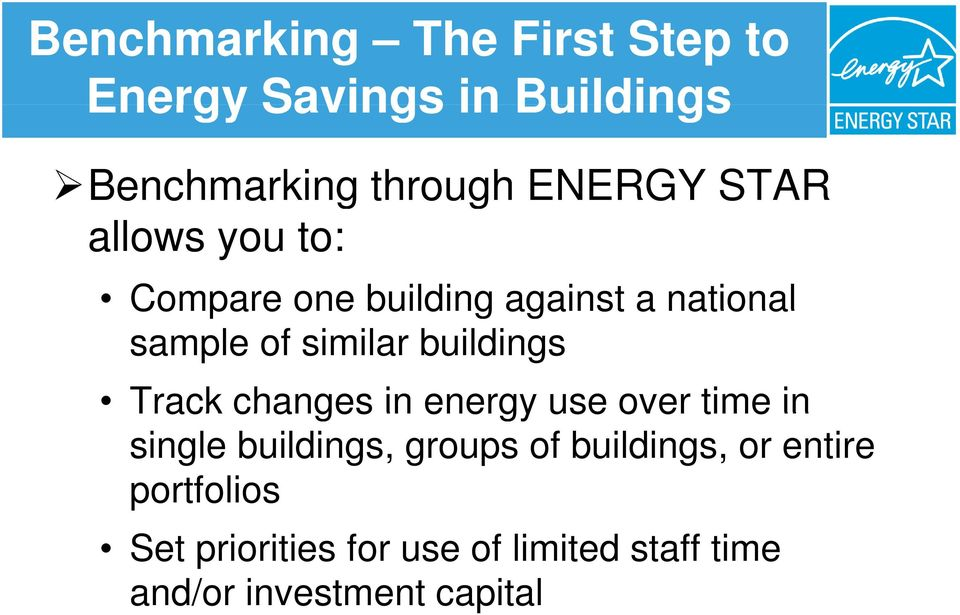 buildings Track changes in energy use over time in single buildings, groups of
