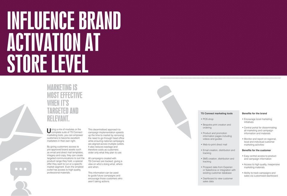 By giving customers access to pre-approved brand assets such as email and direct mail templates, imagery and copy, they can create targeted communications to suit the product range they hold, a
