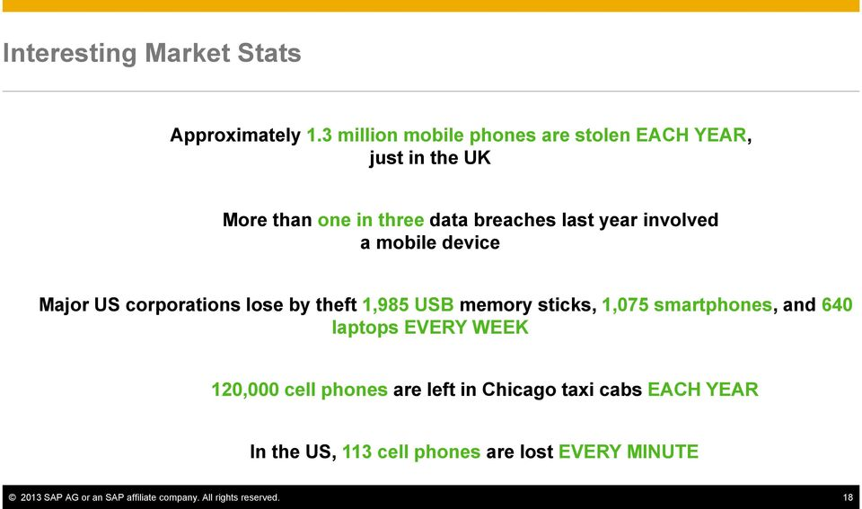 involved a mobile device Major US corporations lose by theft 1,985 USB memory sticks, 1,075 smartphones, and 640