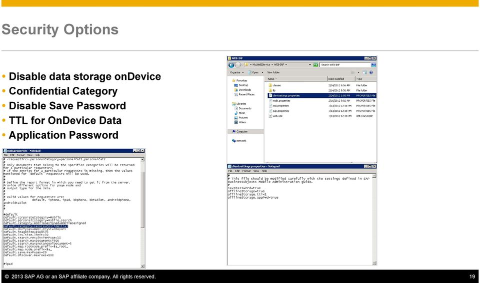 for OnDevice Data Application Password 2013 SAP