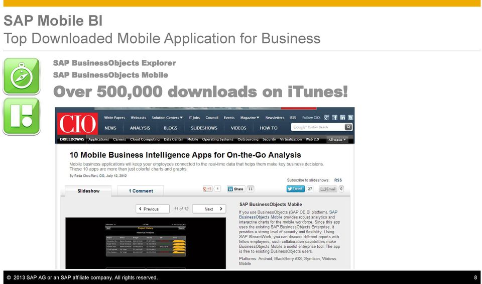 BusinessObjects Mobile Over 500,000 downloads on