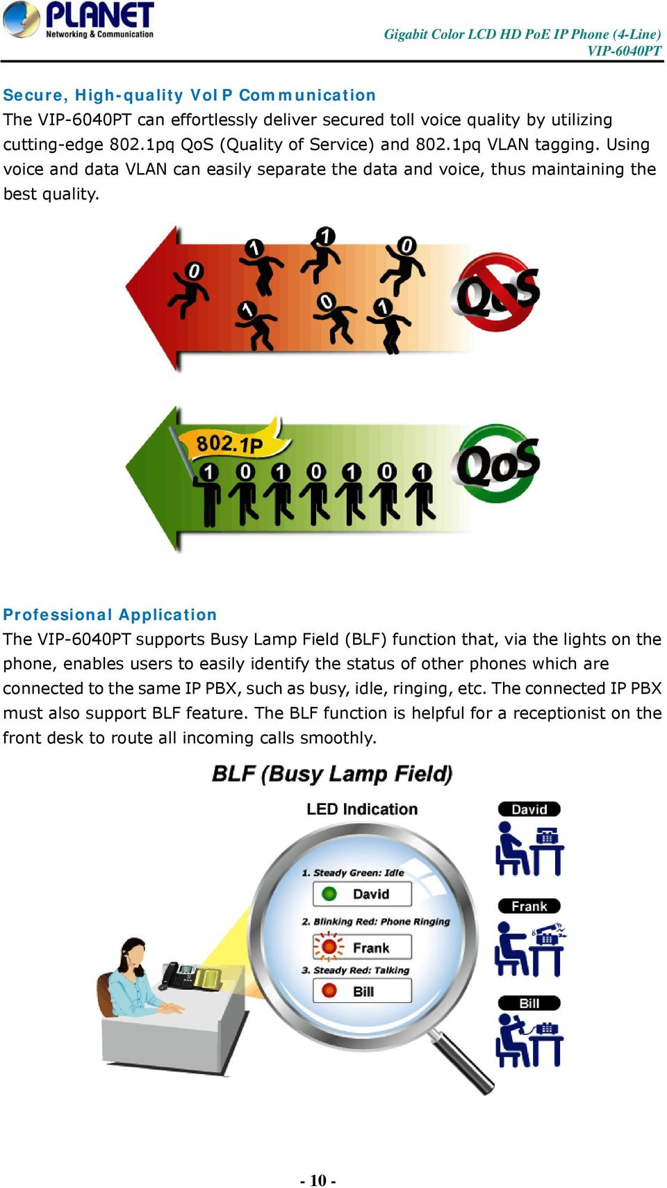 Professional Application The supports Busy Lamp Field (BLF) function that, via the lights on the phone, enables users to easily identify the status of other phones which